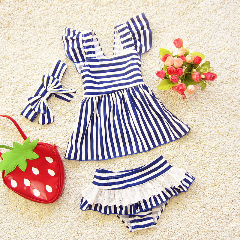 2018 Korean-style Children New Style Spring And Summer Swimwear Cute Baby Navy Article Triangular Split Type Size Child Swimsuit