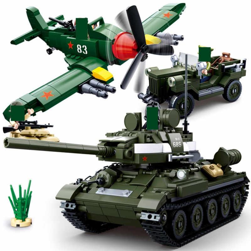 دبابات عسكرية WW2 شخصيات الجيش القوات المدرعة سيارة اللبنات مجموعات لتقوم بها بنفسك الطوب نكاذج الهيلوكابتر Playmobil التعليم الاطفال اللعب