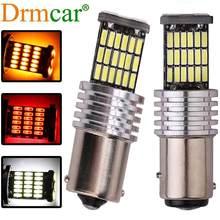 Ampoules LED BA15S pour voitures, feux de voiture, clignotant, feu de stop, R5W 1156, 12V DC, rouge, blanc, jaune, 2 pièces, 1157, 4014