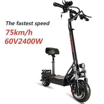 Adult Electric Scooter With Seat 75KM/H  Fast vacuum off-road tires Electronic Kick Escooter 60V 2400W 1
