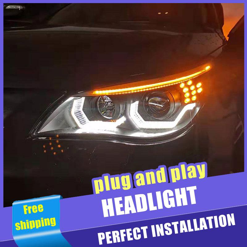2 pièces voiture Style LED phares pour BMW 5 série e60 03-10 pour e60 lampe frontale LED DRL lentille Double faisceau H7 HID xénon bi xénon lentille
