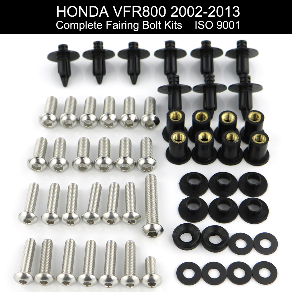 For Honda VFR800 VFR 800 2002 2013 Complete Full Fairing Bolts Kit Fairing Clips Speed Nus Screws Motorcycle Stainless Steel in Full Fairing Kits from Automobiles Motorcycles