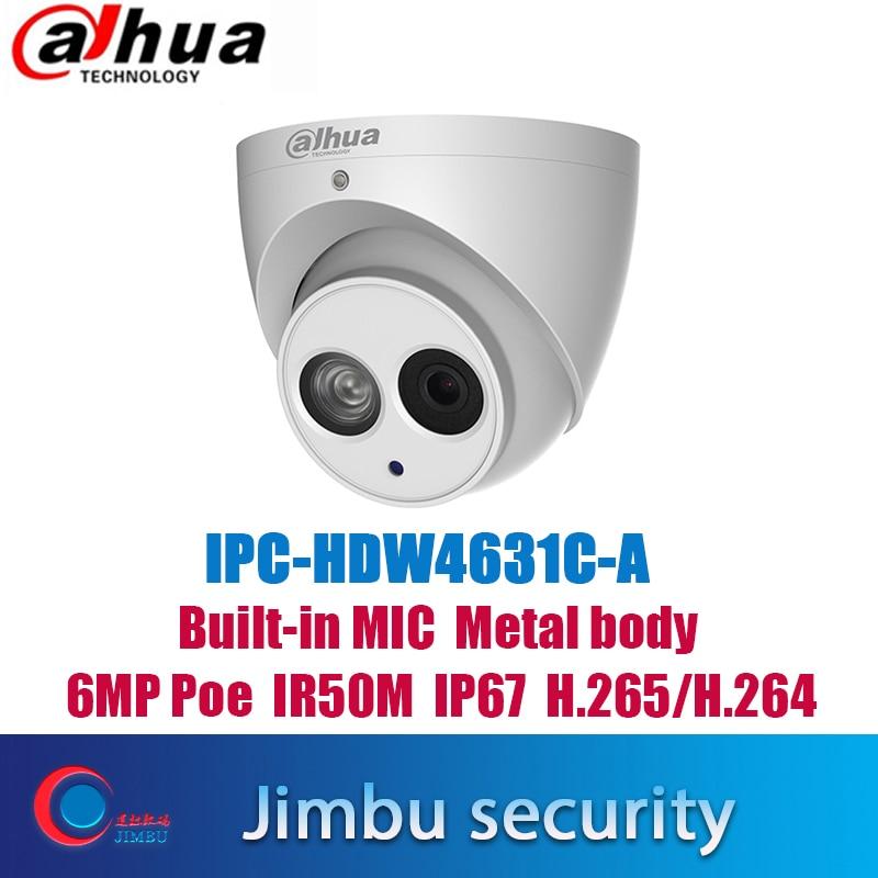 Dahua  IPC-HDW4631C-A 6MP POE H.265 Dome IP Camera Built-in MicHDW4433C-A 4MP  IR Security Cctv Dome Camera Onvif Multi-language
