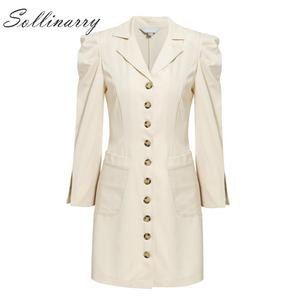 Image 5 - Sollinarry mode Mini robe femmes 2019 manches bouffantes boutons de fête robe Sexy dames col rond femme Vintage robe Vestidos