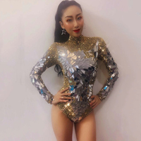 Sparkly Gold Rhinestones Mirrors Shining Bodysuit Women Birthday Celebrity Prom Party Outfit Singer Stage Rompers Dance Costume