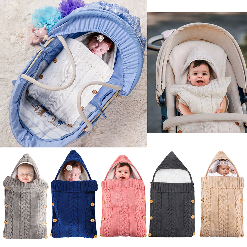 Infant Button Knit Swaddle Wrap Winter Warm Newborn Baby Sleeping Bags Swaddling Stroller Wrap Toddler Blanket  8Colors