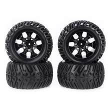 Durable Invariant Easy to Install 4pcs Rubber Tyres 1/10 RC Model Car Diameter 43/38mm Tire 17/12mm Hub Hex Wheel Rim(China)