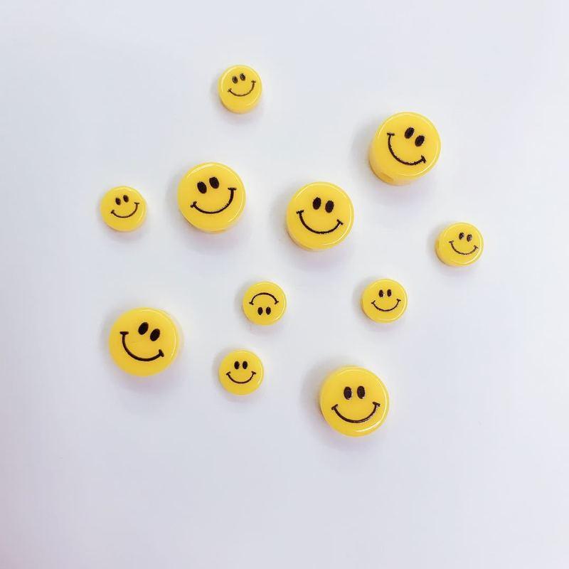 10 круглых желтых бусин из полимерной глины со смайликом, используются для изготовления ювелирных изделий для девочек, аксессуары для ожере...
