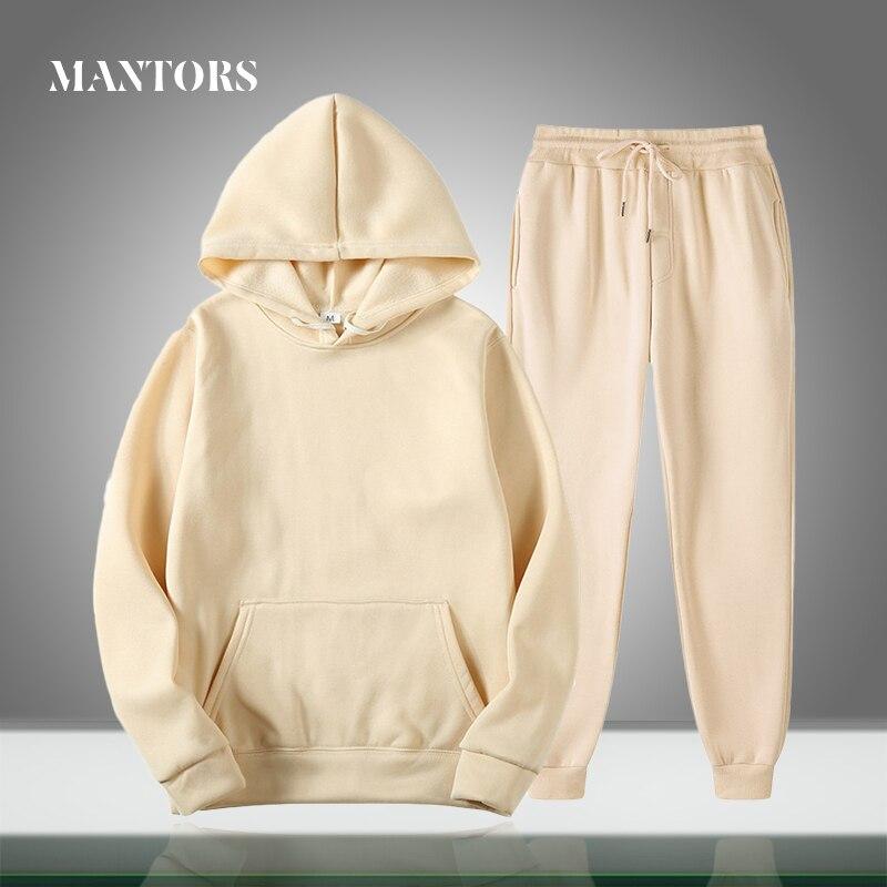 Nova marca dos homens conjuntos casuais cor sólida primavera outono hoodies + calças de duas peças treino na moda roupas esportivas com capuz conjunto masculino