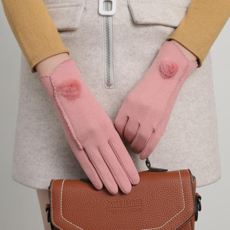 2021 New Fleece Touch Screen Gloves Autumn and Winter Women's Gloves Black Hand Warmer Outdoor Cycling Warm Mittens Gloves
