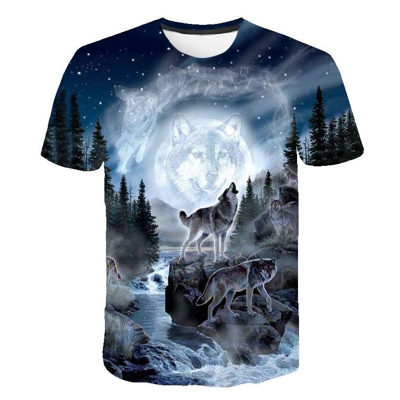 Male Fashion T-shirt Male 2019 Newest 6XL Wolf 3D Print Animal Cool Funny T-Shirt Men Short Sleeve Summer Tops T Shirt Tshirt