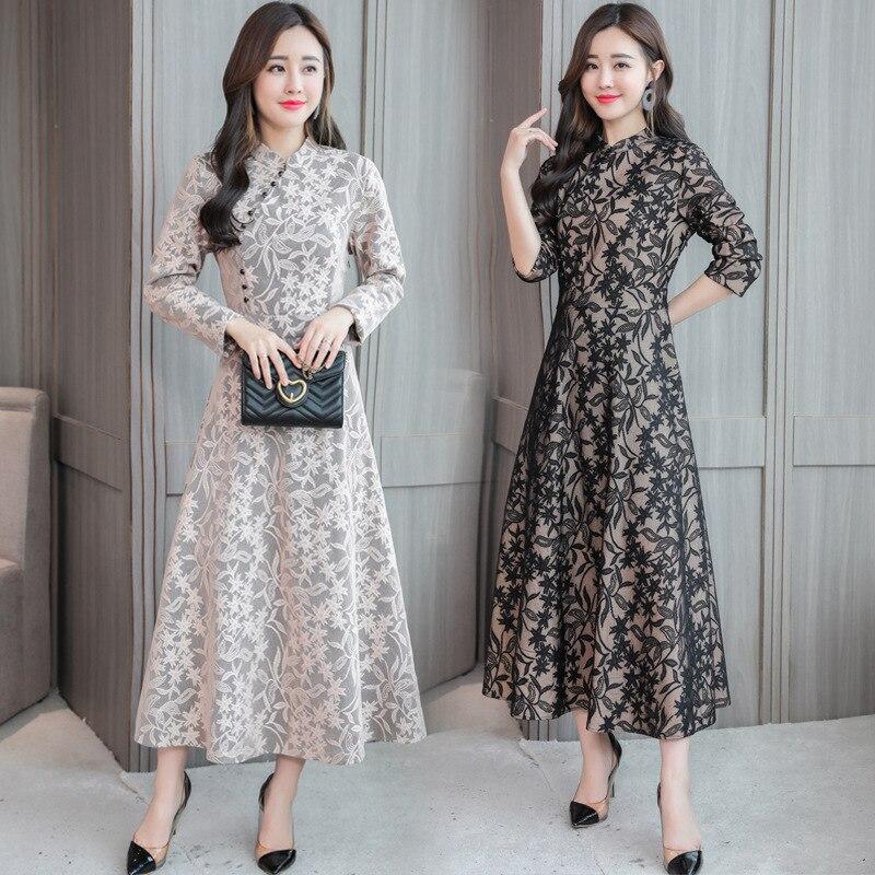 Photo Shoot 2018 New Style Retro Lace Dress WOMEN'S Dress Mid-length Autumn Clothing Long Sleeve Improved Cheongsam Women's 8036