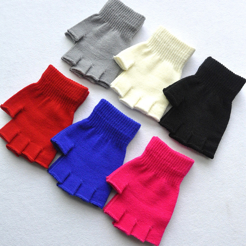 New Children's Winter Gloves Cold Warm Acrylic Fingerless Gloves Solid Color