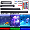16CM-46CM wodoodporne oświetlenie LED do akwarium pilot podwodna lampa do akwarium lampa w kształcie bańki RGB UK US AU ue wtyczka AC100-240V