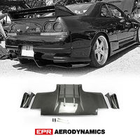 Type 2 Rear Diffuser w/ Metal Fitting Accessories Body kit For Nissan Skyline R33 GTR TS Style Carbon Fiber Glossy Finished(5pcs