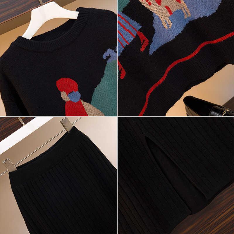 VERHELLEN Women Sweater Skirt Suits 2019 autumn winter women O Neck Cartoon knitted Jumper Sweaters + Skirts 2 Piece Set Women