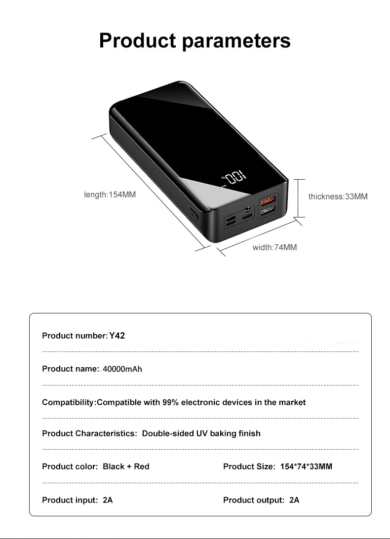 Купить с кэшбэком power bank 40000mAh lage capacity portable fast charge mobile phone universal electricity bank  for Apple Oneplus mobile power