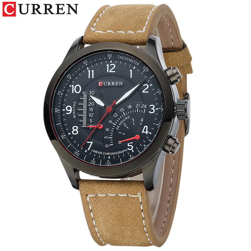 CURREN Hot Brand Luxury Men Watches Leather Strap Waterproof Sports Quartz Wristwatch For Men Watches Male Clock Reloj Hombre