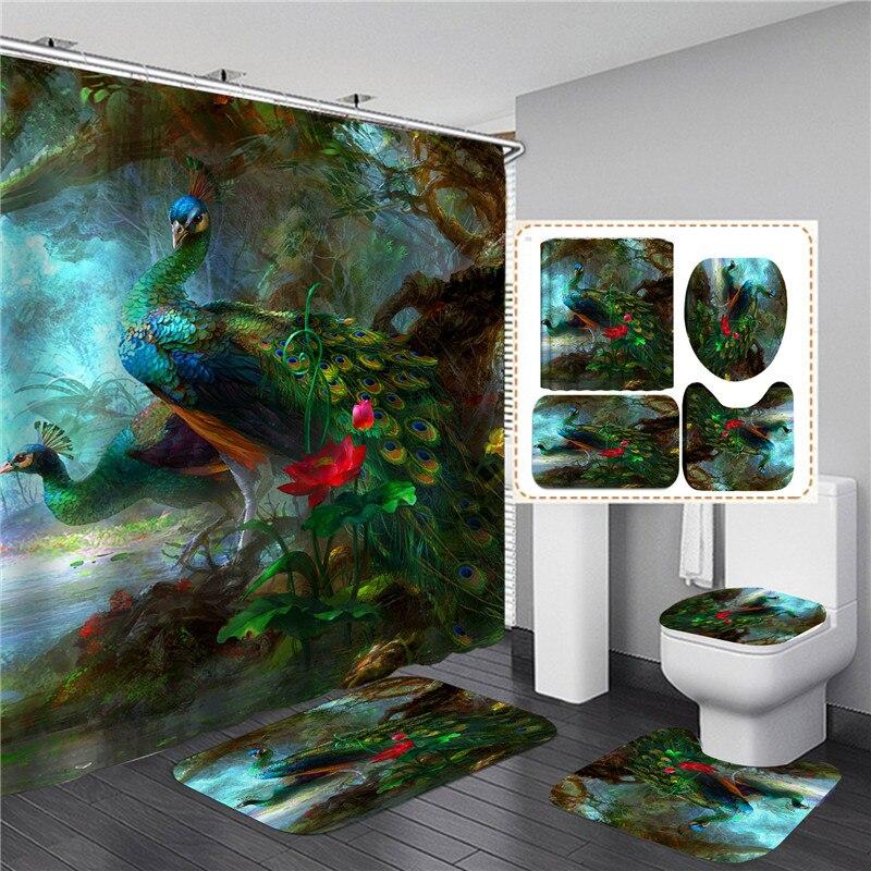 3D Peacock Printed Bathroom Set Shower Curtain Waterproof Animal Elegant Bath Screen with Anti-slip Bathing Mats Rugs Flannel