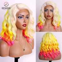 EEWIGS-peluca sintética recta sin pegamento, resistente al calor, con malla frontal, color rosa a amarillo, para mujeres