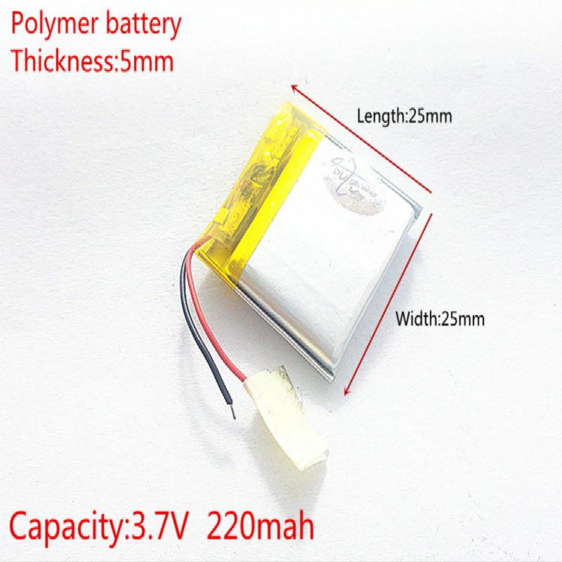 3.7V 220mAh [<font><b>502525</b></font>] Polymer lithium ion / Li-ion battery for mp3;mp4;smart watch;speaker;POWER BANK;bluetooth image