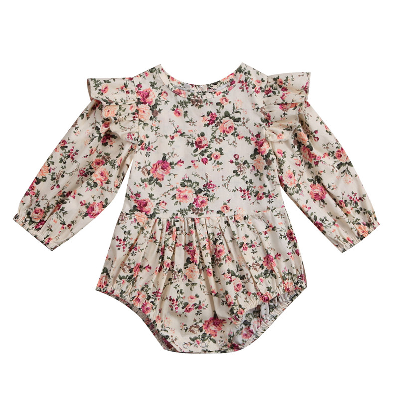 Sweet Toddler Baby Girls Floral Romper Playsuit Jumpsuit Long Sleeve Summer Cotton Clothes Outfits Baby Rompers