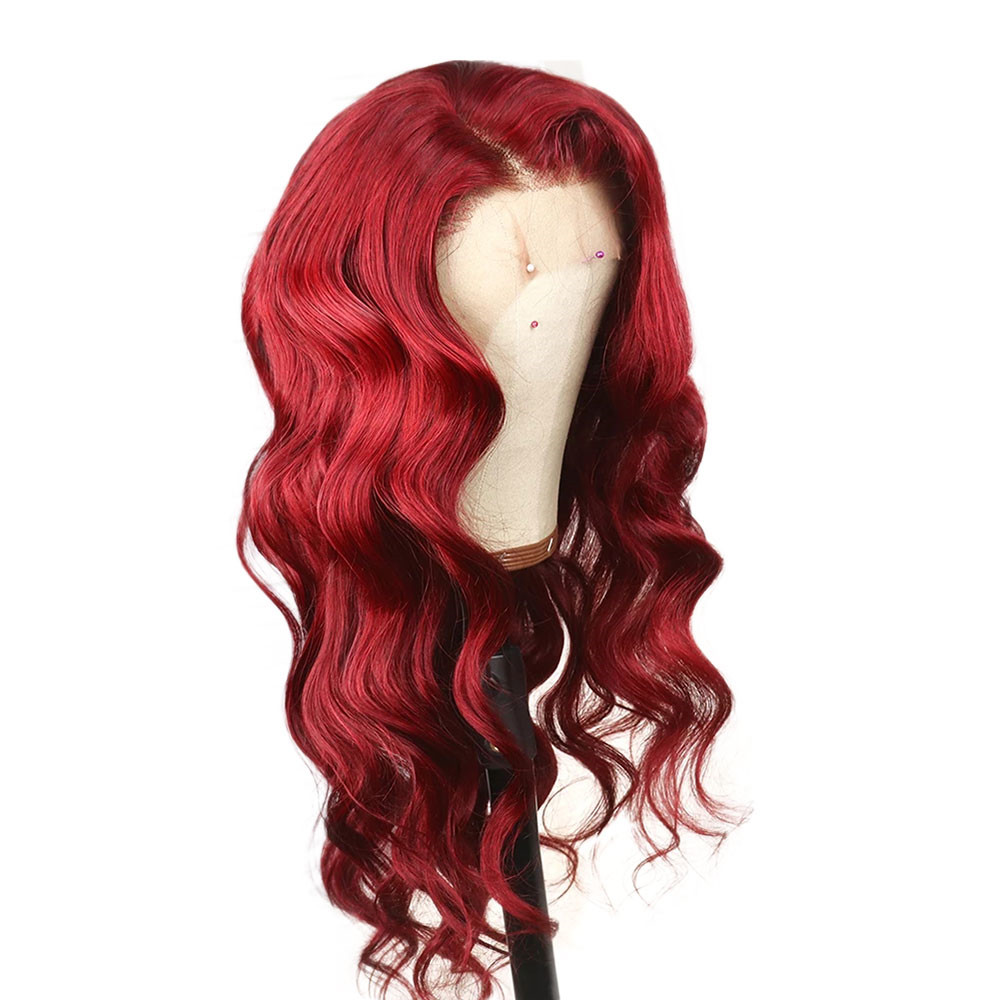 Eseewigs Red 13x4 Lace Front Human Hair Wigs Pre Plucked Hairline Colored Brazilian Remy Hair Wigs Body Wave For Women
