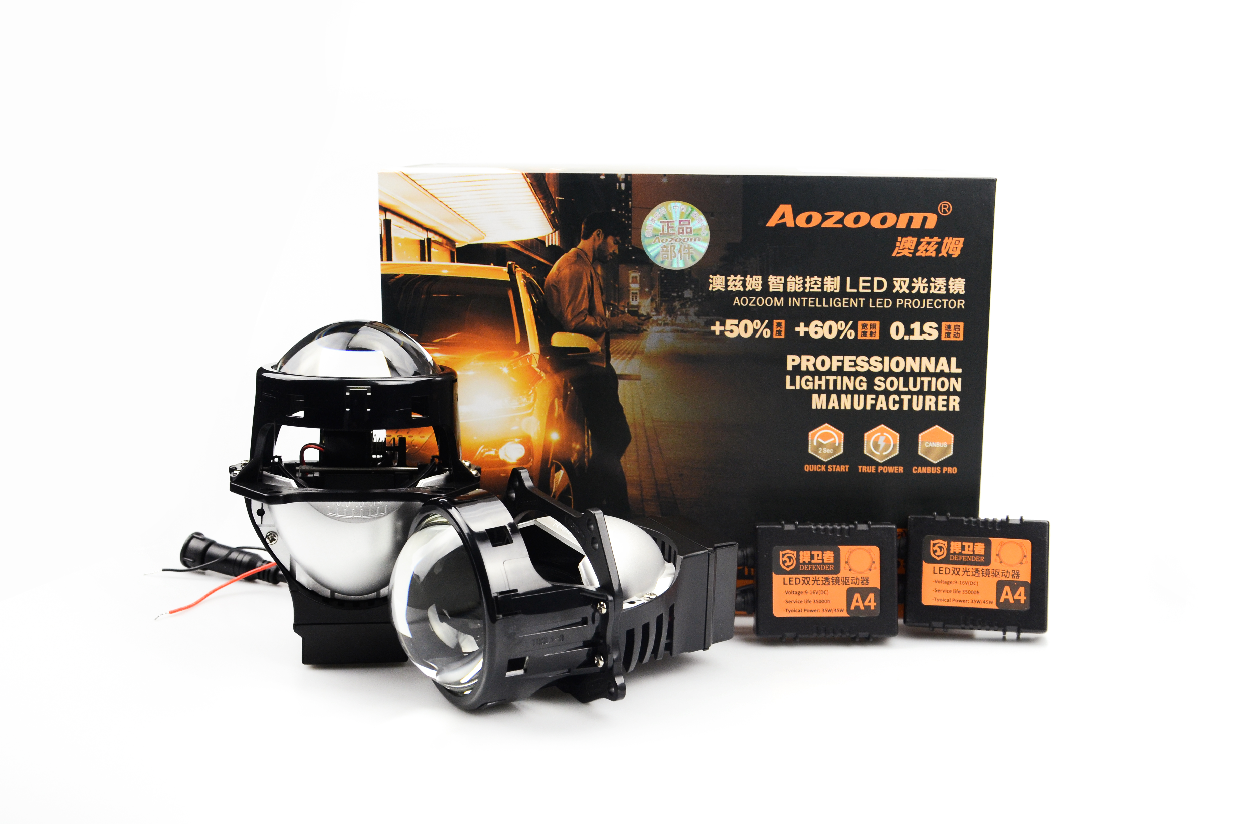 Aozoom 2019 Lateset Upgrade Super Quality 2pcs 35w 4200LM  A4 3.0 Inch LED Bi Projector Lens With Independent High Beam Supplyme