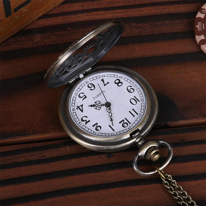 1PCs 빈티지 Steampunk 레트로 청동 디자인 포켓 시계 쿼츠 펜던트 목걸이 선물 남성 여성 펑크 스타일 액세서리