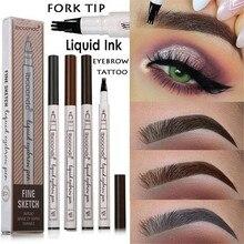 Microblading Eyebrow Pencil Waterproof Fork Tip Tattoo Pen 3 Head Fine Sketch Liquid Enhancer Dye Tint