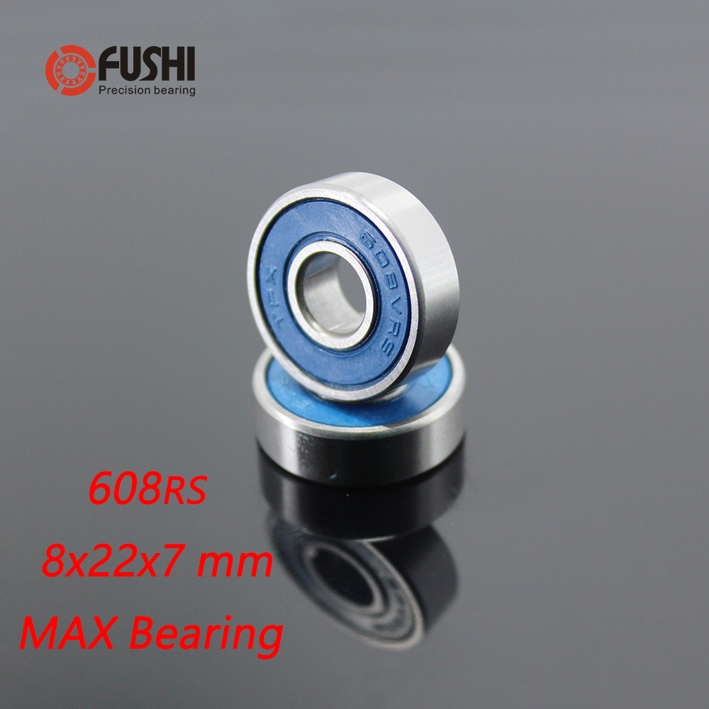 608 2RS Max Cartridge Bearing 8x22x7 Mm ( 2 Pcs ) ABEC-3 Frame Pivot 608 VRS Full Ball Bearings