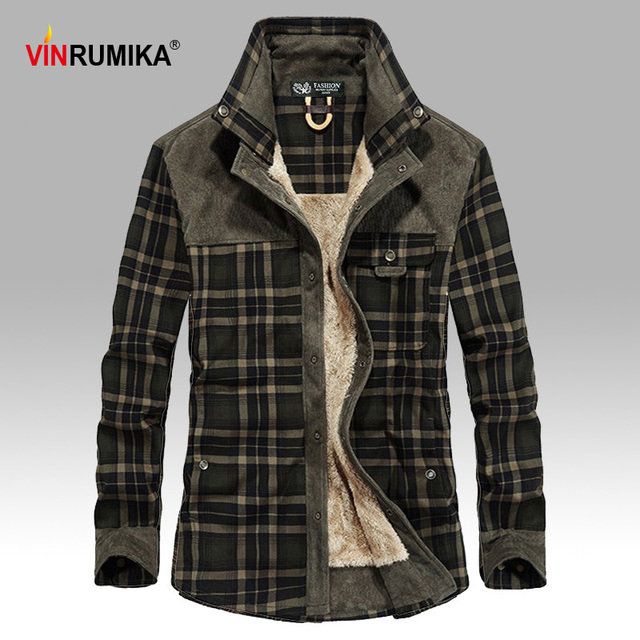 2020 Mens Winter Warm Thick Fleece Casual Brand Good Quality 100% Cotton Plaid Shirt Man Thicken Army Grid Long Sleeve Shirts