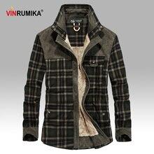 2020 الرجال الشتاء الدافئة سميكة الصوف ماركة غير رسمية نوعية جيدة 100% القطن منقوشة قميص رجل رشاقته الجيش شبكة قمصان طويلة الأكمام