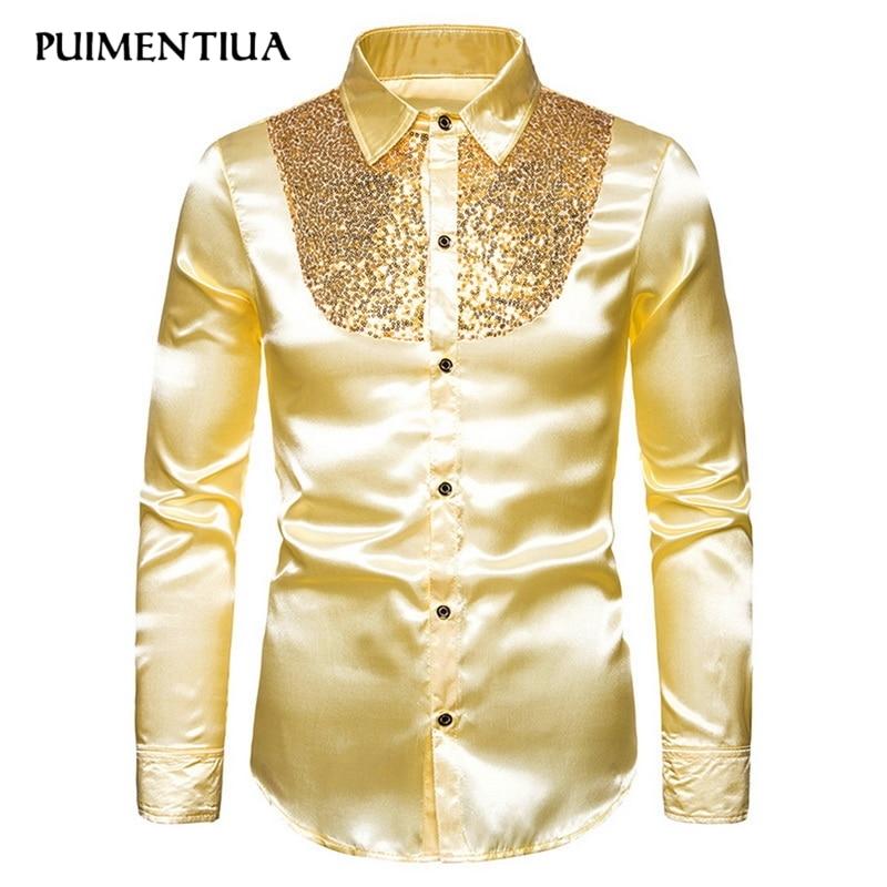 Puimentiua Sequin Shirt Men Wedding Groom Dress Long Sleeve Shirts Mens Nightclub Disco Dance Party Prom Custyme Fashion 2019