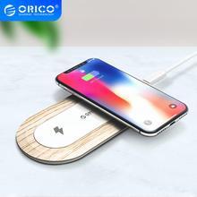ORICO 10W הכפול מטען אלחוטי Qi טעינה מהירה כרית תואם עבור iPhone 11 פרו Xs מקסימום X Xr 8 אינדוקציה מהיר אלחוטי טעינה