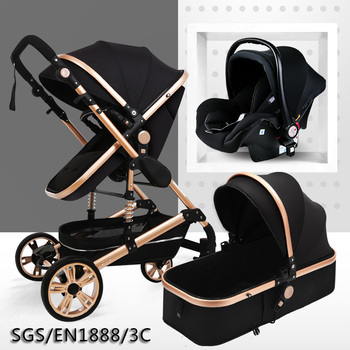 2020Newborn Stroller 3 in 1 Multifunctional Baby Stroller High Landscape Stroller Folding Carriage Gold Baby Stroller image