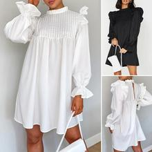 ZANZEA Stylish Pleated Party Mini Dress Women Sexy Spring Long Sleeve Ruffles Sundress Casual Club White Dresses Short Vestidos