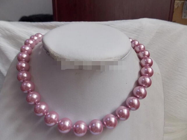 "10mm Pink South Sea Shell Pearl Necklace 18/""AAA"