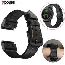 Fenix 6X Wristband Quick Fit 26mm/22mm Genuine Leather Hybrid Silicone Watch Band Strap for Garmin Fenix 5 Plus/Fenix 5X/3/3 HR