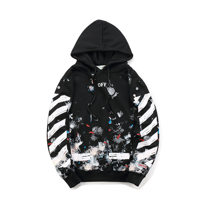 Europe And America Popular Brand Off Ow Fireworks Star Pure Cotton Hoodie Graffiti Couples Coat Men And Women Celebrity Style