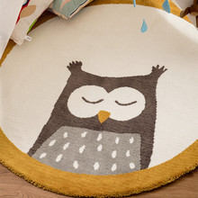 Owl Environmentally Friendly Tasteless Round Children's Carpet Cartoon Animal Pattern Bedroom Room Bedside Game Crawling Mat