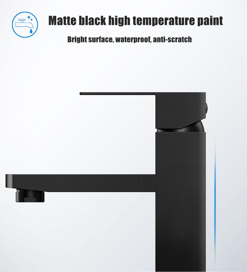 H7bc8dde16cca4404aed5a2eecb75f7fcm XUNSHINI Black Square Bathroom Sink Faucet Single Handle Basin Faucet Wash Tap Bathroom Toilet Deck Mounted Basin Tap