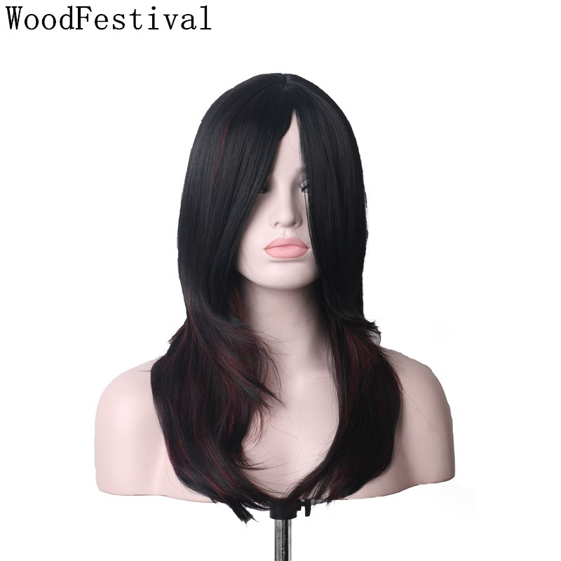 WoodFestival Womens Synthetic Hair Wigs For Women Heat Resistant Cosplay Wig With Bangs Long Black Brown Mix Color