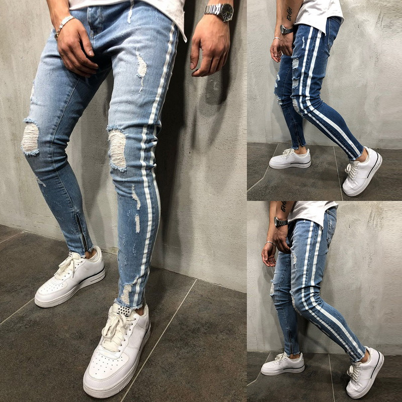 New Fashion Ripped Jeans Hombre Solid Striped Streetwear Mens Straight Stretch Pencil Men Jeans Pants Slim Casual Denim Jeans