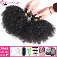 Gabrielle Afro Kinky kıvırcık saç brezilyalı saç örgü demetleri doğal renk insan saçı postiş 3 demetleri Remy saç 5/10 adet