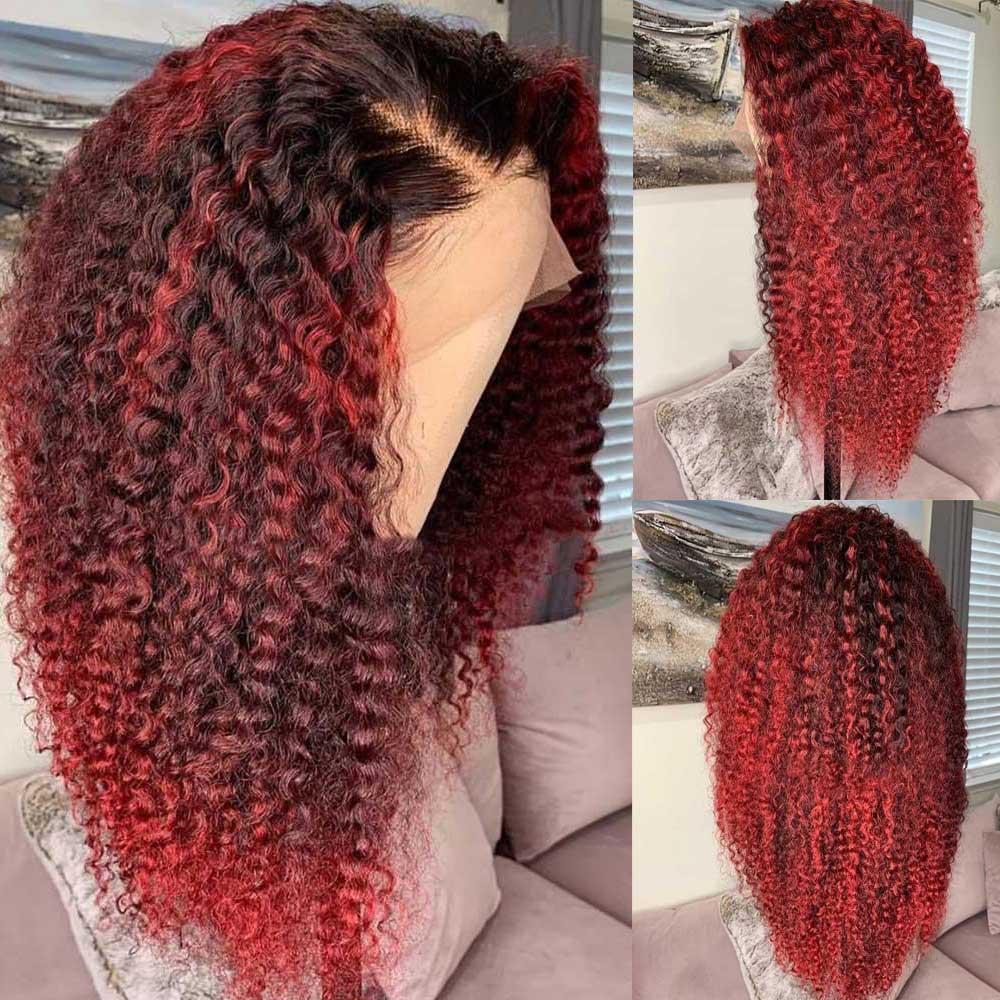 Wstępnie oskubane Remy kręcone 1b/99J czerwony bordowy kolorowy peruka 13x4 głębokie część HD przezroczysta niewidzialna koronka peruka dla czarnych kobiet Atina