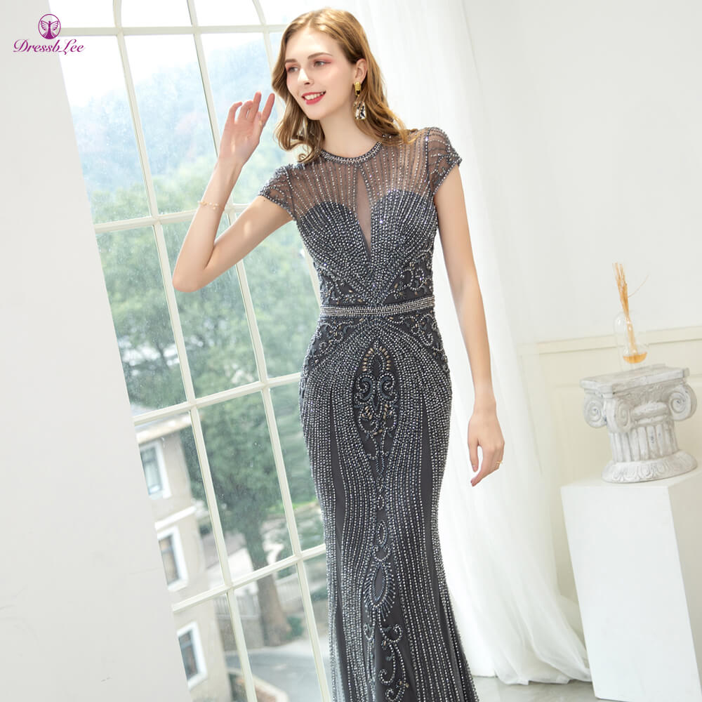 Sparkly Dubai Style Mermaid Evening Dress Full Crystal Beaded Long Evening Dresses Transparent Formal Party Gowns robe-de-soiree