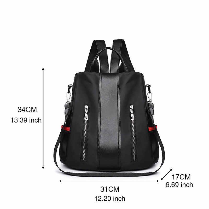جديد أزياء المرأة حقائب عالية الجودة أسود أكسفورد Preppy نمط رفرف حقيبة ل في الهواء الطلق Trval عودة حزمة Sac