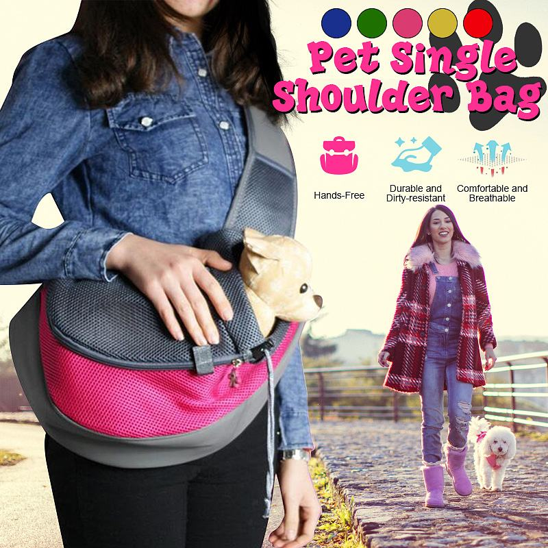 19 Pet Carrier Bag Puppy Dog Outdoor Travel Sling Shoulder Bag Comfortable Mesh Oxford Backpack Front Bags S/L 3