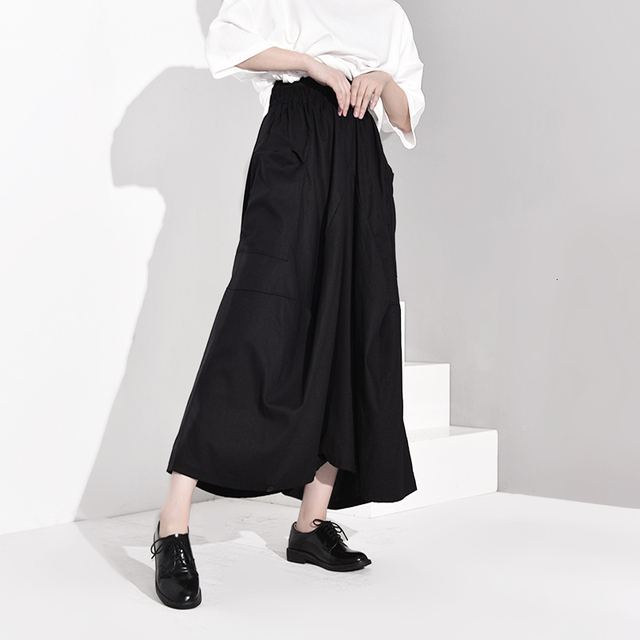 [EAM] High Elastic Waist Black Pleated Long Wide Leg Trousers New Loose Fit Pants Women Fashion Tide Spring Autumn 2020 EF2990